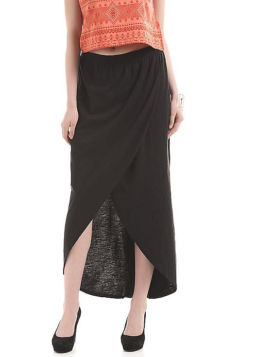 Flat 50% off on Pepe Jeans By Nnnow | PEPE JEANS Wrap Effect Slubbed Skirt @ Rs.750