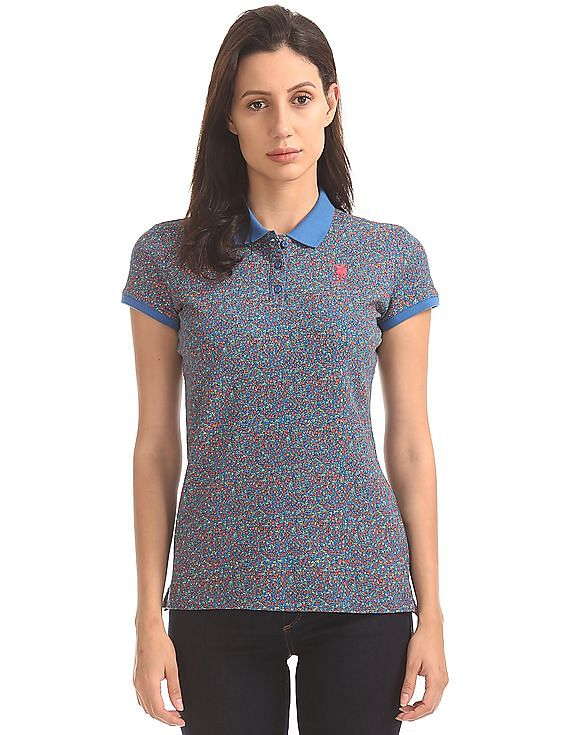 Buy Women Floral Print Regular Fit Polo Shirt online at NNNOW.com 4f8661d3b