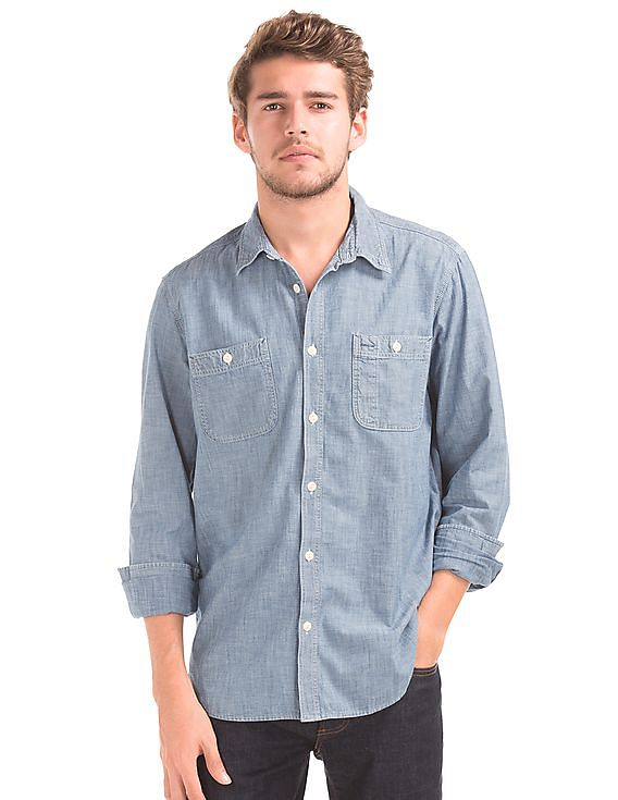 817bcbd8701 Buy Men 1969 Icon Worker Chambray Shirt online at NNNOW.com