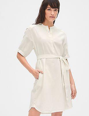 GAP White Roll Sleeve Popover Shirtdress