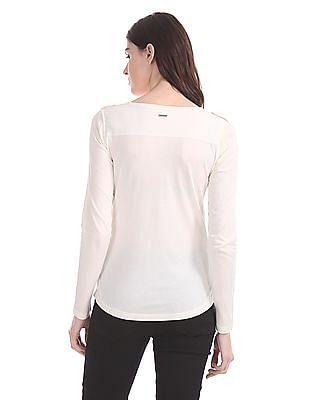 Nautica Long Sleeve Woven Mix Pocket T-Shirt