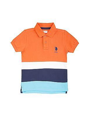 U.S. Polo Assn. Kids Boys Striped Cotton Pique Polo Shirt