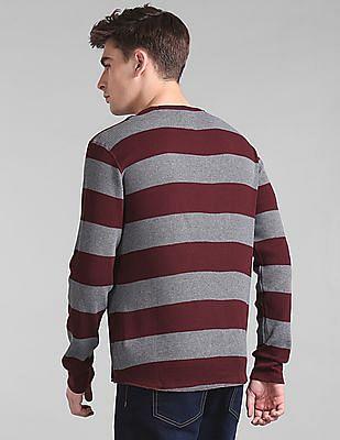 GAP Men Red Striped Waffle Knit T-Shirt