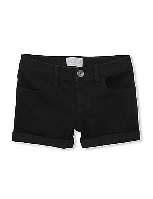 The Childrens Place Girls Roll Hem Solid Shorts