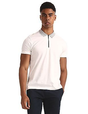 Flying Machine White Zip Up Solid Polo Shirt