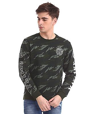Flying Machine Full Sleeve Camo Print Sweatshirt