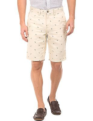 Nautica Anchor Print Linen Cotton Shorts