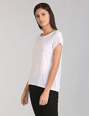 GAP Women White Short Sleeve Braided-Back Top In Linen