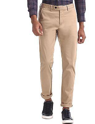 Arrow Sports Beige Chrysler Slim Fit Flat Front Trousers