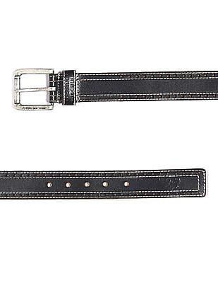 Flying Machine Black Stitched Leather Belt