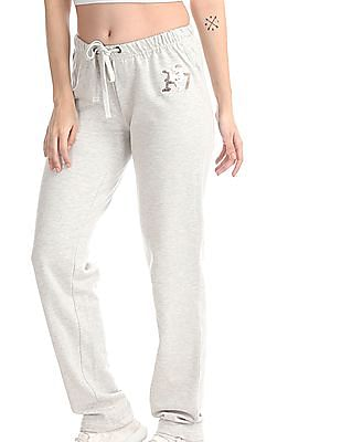 Aeropostale Grey Sequin Logo Heathered Track Pants