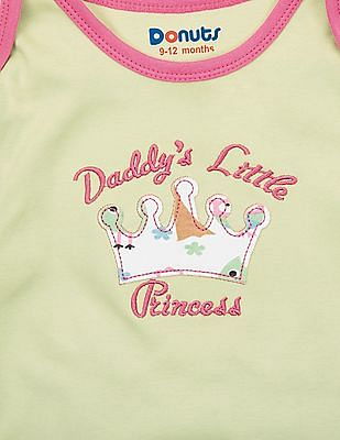 Donuts Girls Embroidered Front Long Sleeve Top