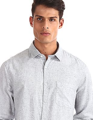 Ruggers Grey Patterned Weave Regular Fit Shirt