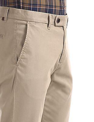 Arrow Sports Beige Chrysler Slim Fit Solid Trousers