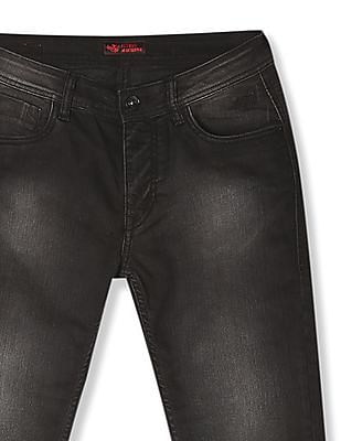 Flying Machine Black Michael Slim Tapered Fit Washed Jeans