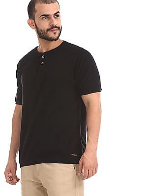 Cherokee Black Slim Fit Henley T-Shirt