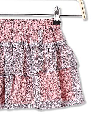 Cherokee Girls Elasticized Waist Floral Printed Skirt