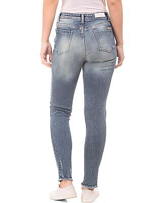 Flying Machine Women High Rise Ripped Jeans