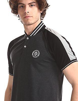 Flying Machine Grey Striped Collar Pique Polo Shirt