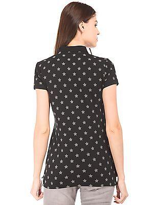 U.S. Polo Assn. Women Star Print Regular Fit Polo Shirt