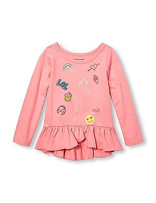 The Children's Place Toddler Girl Long Sleeve Embellished Graphic Hi-Low Ruffle Peplum Top