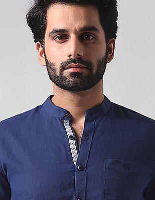 True Blue Slim Fit Linen Shirt