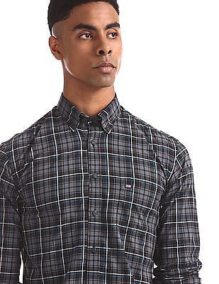 Arrow Sports Grey Regular Fit Check Shirt