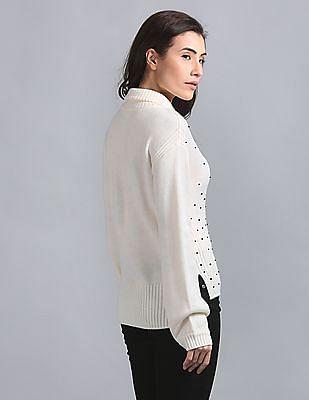 GAP Pearl Embellished Turtle Neck Sweater