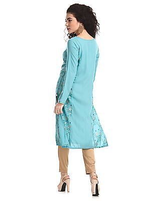 Karigari Green Princess Panel Printed Kurta