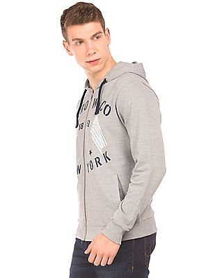 Arrow Sports Printed Front Hooded Sweatshirt
