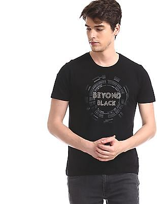 Flying Machine Black Crew Neck Graphic T-Shirt
