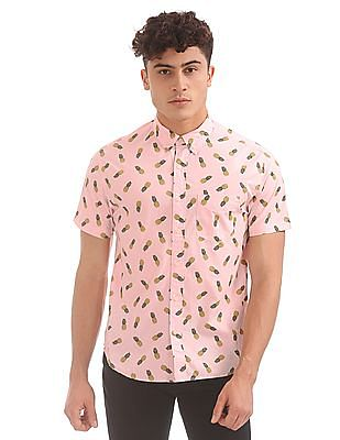 Aeropostale Pineapple Print Button Down Shirt