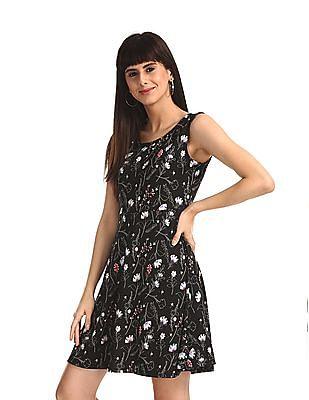 SUGR Black Cut Out Back Printed Skater Dress