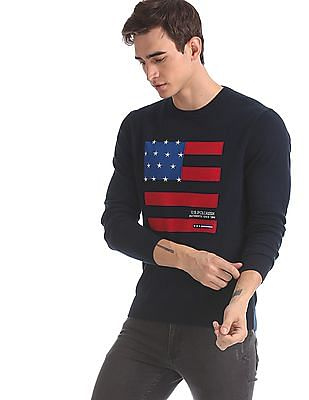 U.S. Polo Assn. Blue Flag Pattern Crew Neck Sweater