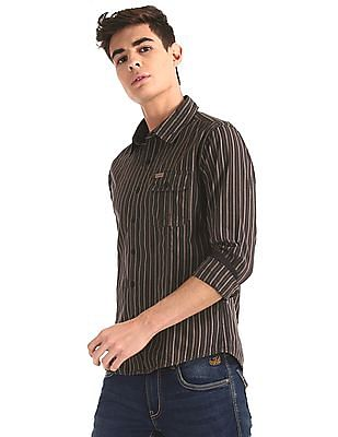 Flying Machine Brown Rounded Cuff Vertical Stripe Shirt