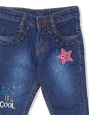 Donuts Girls Mid Rise Stone Wash Jeans
