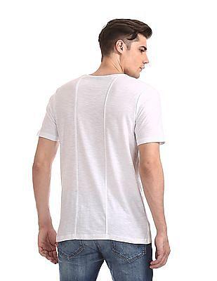Cherokee White Contrast Graphic Slubbed T-Shirt