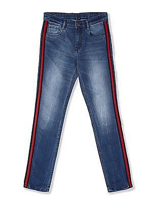 FM Boys Blue Boys Skinny Fit Striped Taping Jeans