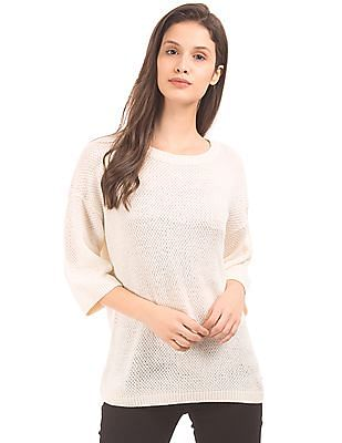 U.S. Polo Assn. Women Lace Panel Boxy Sweater