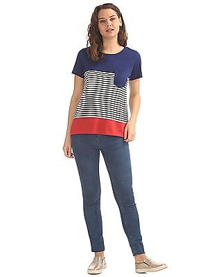 Cherokee Colour Block Patch Pocket T-Shirt