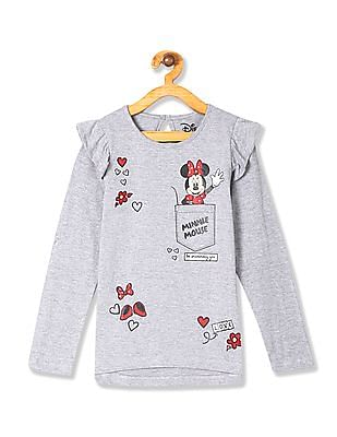 Colt Grey Girls Minnie Mouse Graphic Ruffled Top