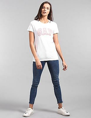 GAP Women White Cross Stitch Logo T-Shirt