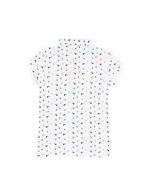U.S. Polo Assn. Kids Girls Printed Regular Fit Polo Shirt