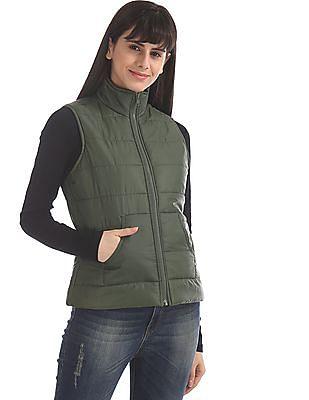 Flying Machine Women Green Solid Gilet Jacket