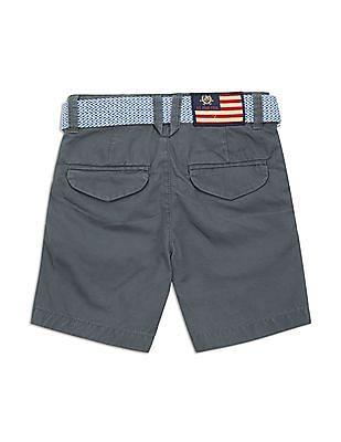 U.S. Polo Assn. Kids Boys Belted Regular Fit Shorts