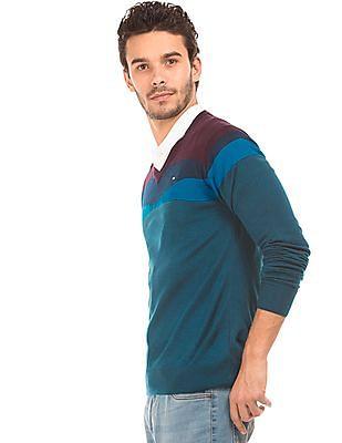 Arrow Sports Contrast V-Neck Sweater