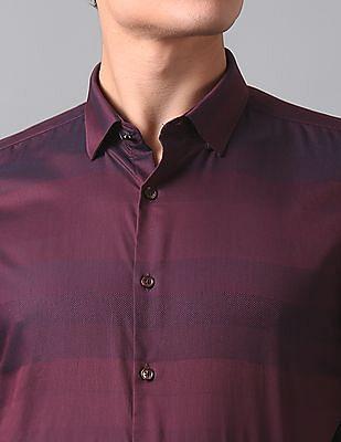 True Blue Slim Fit Patterned Striped Shirt