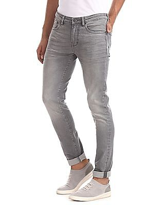 Arrow Sports Grey Justin Skinny Fit Washed Jeans