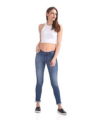 Cherokee Skinny Fit Paint Splatter Jeans
