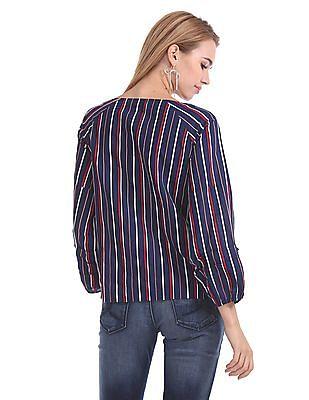 Cherokee Striped Long Sleeve Top